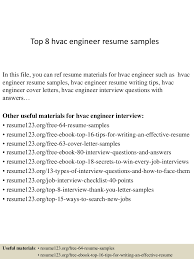 mechanical engineer resume sample top8hvacengineerresumesamples 150402023441 conversion gate01 thumbnail 4 jpg cb 1427960122