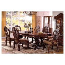 Carved Dining Table And Chairs Sun Pine 7pc Carved Pedestal Dining Table Set