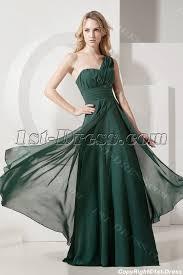 hunter green one shoulder plus size evening gown 1st dress com