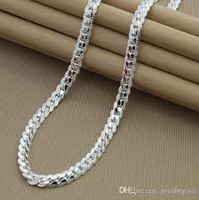 link necklace silver images Online cheap wholesale 925 silver plated women men 39 s chain 20 inch jpg