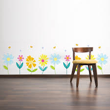 pretty spring garden flowers with butterflies printed wall