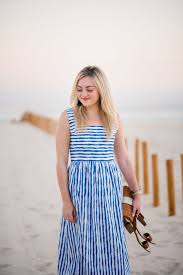 light blue and white striped maxi dress vineyard vines striped maxi dress tassel earrings bows sequins
