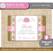 bridal shower favor tags burlap and lace bridal shower favor tags the party stork