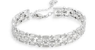 swarovski silver crystal bracelet images Lyst swarovski viola crystal bracelet in metallic jpeg