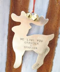 Grandparent Ornaments Personalized Grandparents Ornament Reindeer Personalized Deer Ornament For