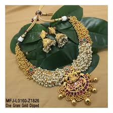 pearl ruby necklace images 1 gram gold dip ruby emerald stones lakshmi pearls balls jpg