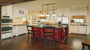 grey cabinets for white kitchen island with hanging lamps 9588