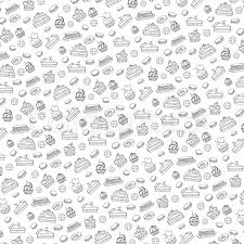 pattern is linear doodle vector bakery cakes and dessert pastries linear pattern