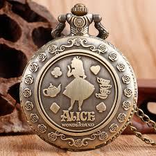 ladies pocket watch necklace images Vintage cute alice in wonderland rabbit flower pocket watch jpg