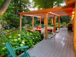 Outdoors Kitchens Designs by Exciting Rectangle Shape Brown Color Wooden Pergola Features Stone