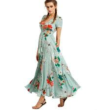 summer dress light green flowy summer dress women s floral print maxi