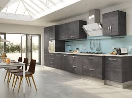 interior grey varnished wood kitchen cabinet blue glass kitchen