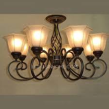 Ls Ceiling Lights Countryside 8 Light Wrought Iron Semi Flush Ceiling Light
