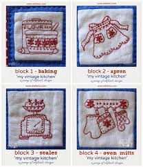 free kitchen embroidery designs block 5 of my vintage kitchen is a free download blocks 1 4 are