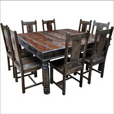 Grey Rustic Dining Table Solid Wood Square Dining Table For 8 Dark Room Reclaimed Large