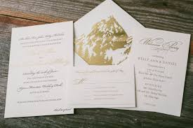 mountain wedding invitations classic wedding invitations with gold foil envelope liners