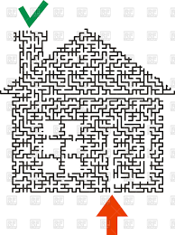 shape of house black maze in the shape of a house vector clipart image 138312