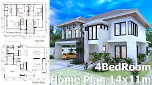 Home Design 9app Sketchup Modern Home Design Plan Size 14x11m Youtube