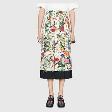 silk skirt flora snake silk skirt gucci women s skirts 409370zip589285