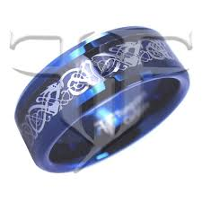 blue tungsten rings images Blue nordic viking celtic dragon carbon fiber tungsten ring jpg