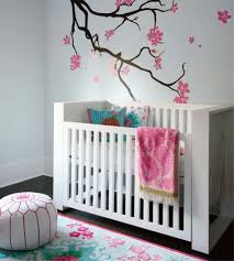fancy baby nursery room idea with awesome trees decal arts and