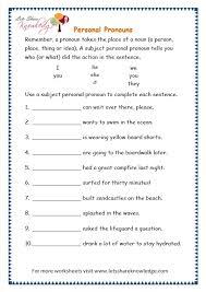 grade  grammar topic  personal pronouns worksheets  lets  with page  personal pronouns worksheet from letsshareknowledgecom