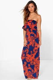 maxi dresses palm printed bandeau detail maxi dress boohoo