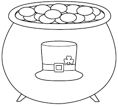 pot of gold with leprechaun hat coloring page st patrick u0027s day