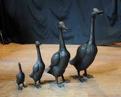 bronze goose family geese bird fowl garden statue