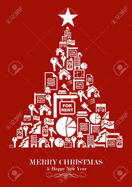 real estate new years cards real estate icon set in christmas tree greeting card vector