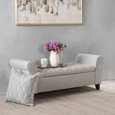 Overstock Bedroom Benches Keiko Tufted Fabric Armed Storage Ottoman Bench By Christopher