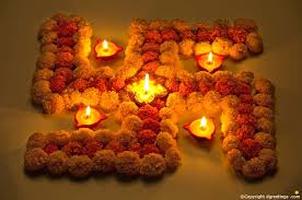 diwali decoration ideas at home flowers swastik sign decoration ideas for diwali
