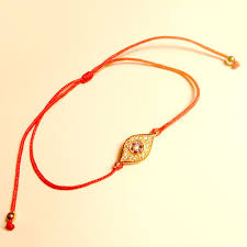 gold string bracelet images Delicate rose gold tone red string bracelet with tiny evil eye in jpg