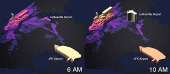 New York Lga Airport Map by Mapping The Hourly Volume Of Taxi Trips Across New York City