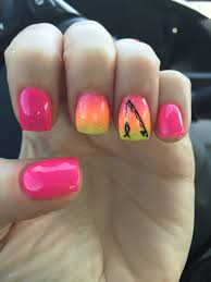 girly fishing nail art pink glitter ombré fishing