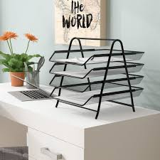 Paper Organizer For Desk Mind Reader 4 Tier Steel Mesh Paper Tray Desk Organizer Reviews