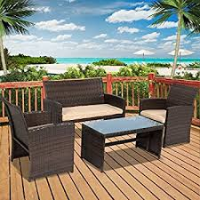 amazon com goplus 4 pc rattan patio furniture set garden lawn
