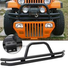 jeep wrangler front grill 76 06 jeep wrangler front grille guard black powder coated