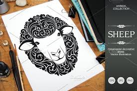 ornamental sheep illustrations creative market