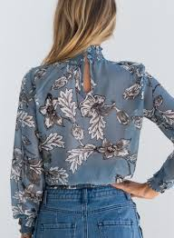 floral chiffon blouse s fashion high neck sleeve floral chiffon blouse