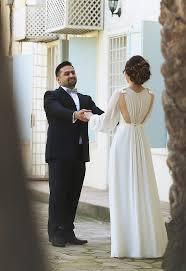 ivory chiffon long bubble sleeve vintage wedding dresses simple