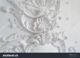 luxury white wall design basrelief stucco stock photo 414392137