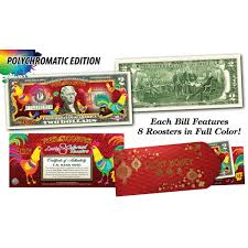 new year dollar bill new year year of the rooster polycromatic 8 colorized