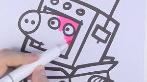 peppa pig is a robot coloring pages how to draw peppa pig for kids