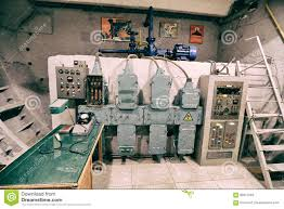 the old control equipment in the bomb shelter stock photo image