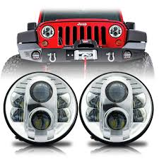 jeep chrome apollo chrome projector led headlights for wrangler 1996 2017