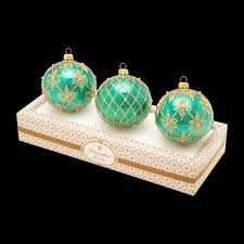 boxed glass ornaments turquoise with gold and white set of 3