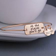 graduation jewelry gift oh the places you ll go bangle bracelet personalised jewellery