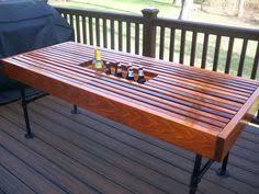 cedar outdoor table with built in wine u0026 beer cooler with metal
