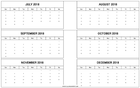 free 6 months july to december 2018 calendar template printable